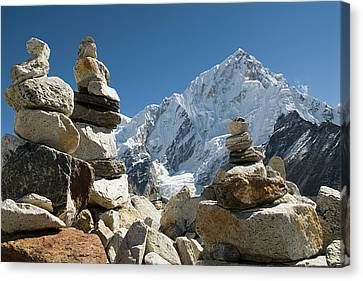 Rock Piles In The Himalayas Canvas Print by Shanna Baker