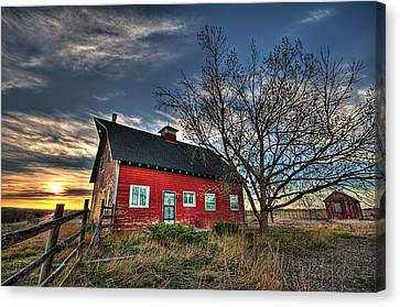 Rustic Barn Bathed In Colors Canvas Print by Shane Linke