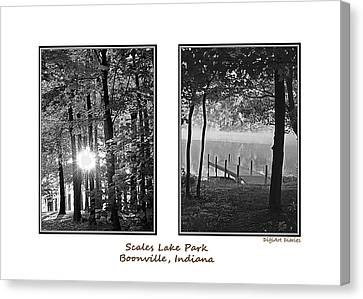 Scales Lake Park Collage Canvas Print by DigiArt Diaries by Vicky B Fuller