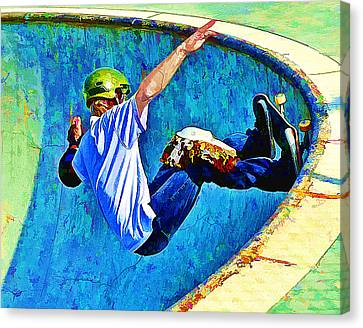Skateboarding In The Bowl Canvas Print by Elaine Plesser