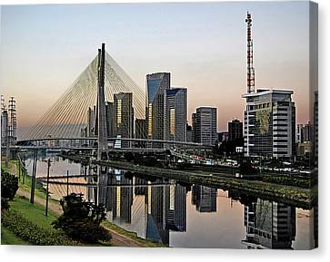 Stayed Bridge And Modern Sao Paulo Skyline Canvas Print by Carlos Alkmin