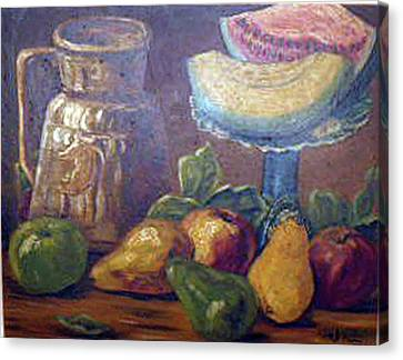 Still Life With Pears And Melons Canvas Print by Hilda Schreiber