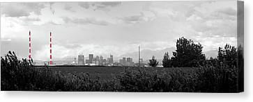 Stormy Day Calgary Cityscape Canvas Print by Lisa Knechtel