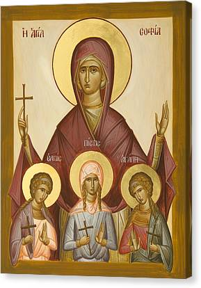 Sts Sophia Faith Hope And Love Canvas Print by Julia Bridget Hayes