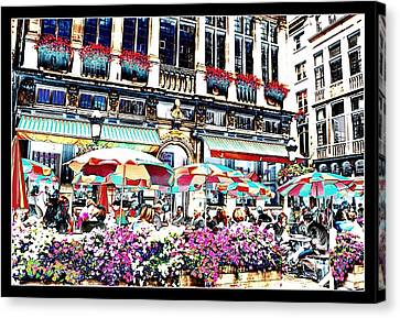 Sunny Day On The Grand Place Canvas Print by Carol Groenen