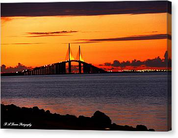 Sunset Over The Skyway Bridge Canvas Print by Barbara Bowen