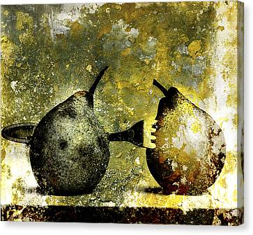 Two Pears Pierced By A Fork. Canvas Print by Bernard Jaubert