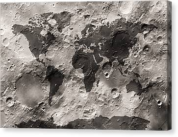 World Map On The Moon's Surface Canvas Print by Michael Tompsett