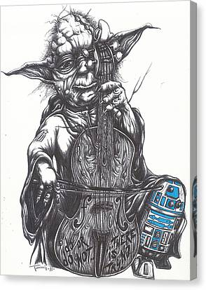 Yoda Soothes Baby R2 With The Charm Of His Homegrown Cello Canvas Print by Tai Taeoalii