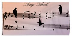 Songbirds With Border Hand Towel by Bill Cannon