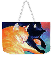 Orange And Black Tabby Cats Sleeping Weekender Tote Bag by Svetlana Novikova