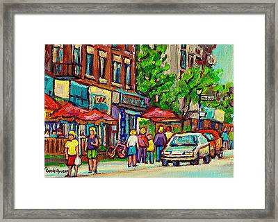 Monkland Tavern Corner Old Orchard Montreal Street Scene Painting Framed Print by Carole Spandau