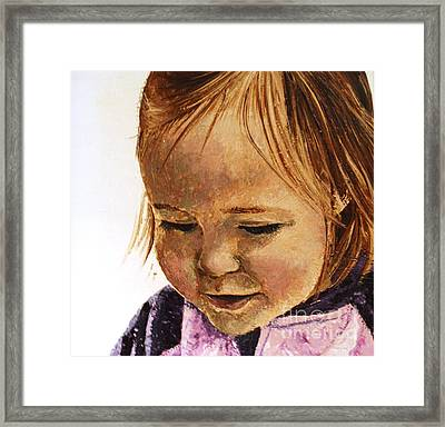 Portrait Of A Girl Framed Print by Tatjana Popovska