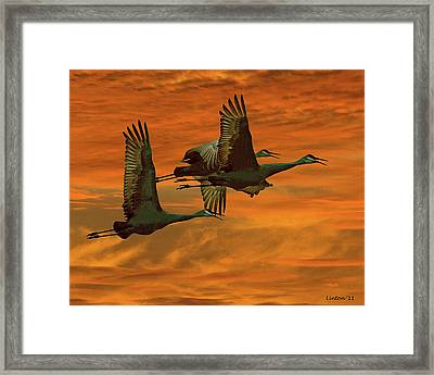 Cranes At Sunrise Framed Print by Larry Linton