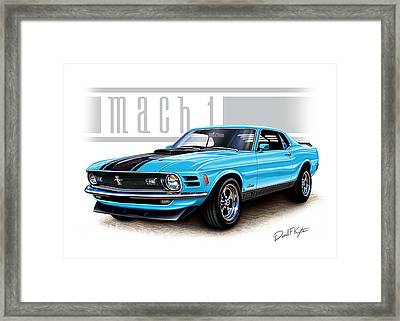 1970 Mustang Mach 1 Blue Framed Print by David Kyte