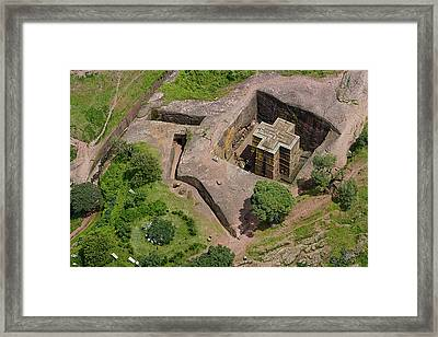 An Aerial View Of The Rock Hewn Church Framed Print by Michael Poliza