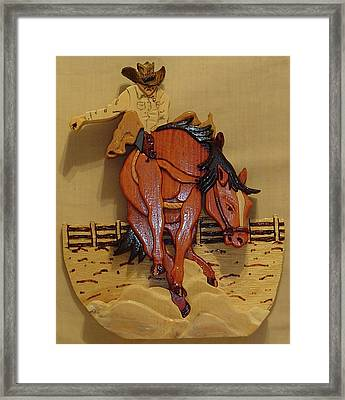 Broncobuster Framed Print by Russell Ellingsworth