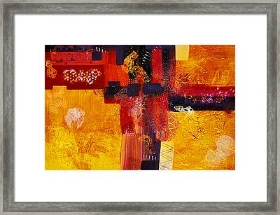 Byzantine Times An Abstract Painting Of Geometric Shapes Framed Print by Phil Albone