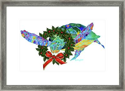 Christmas Holiday Sea Turtle Framed Print by Jo Lynch