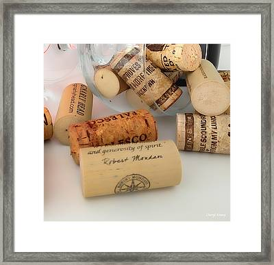 Corks Framed Print by Cheryl Young