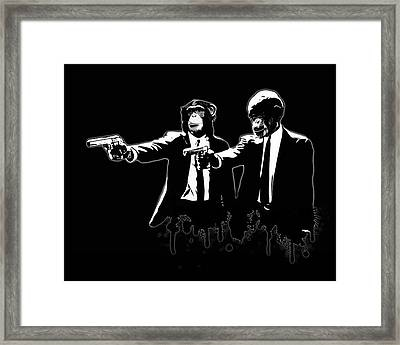 Divine Monkey Intervention - Pulp Fiction Framed Print by Nicklas Gustafsson