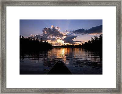 Evening Paddle On Spoon Lake Framed Print by Larry Ricker