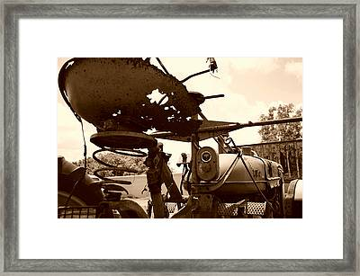 Farmall Seat In Sepia Framed Print by Lynda Dawson-Youngclaus