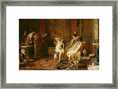 Female Slaves Presented To Octavian Framed Print by Remy Cogghe