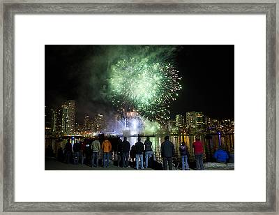 Fireworks Go Off During The Olympics Framed Print by Taylor S. Kennedy