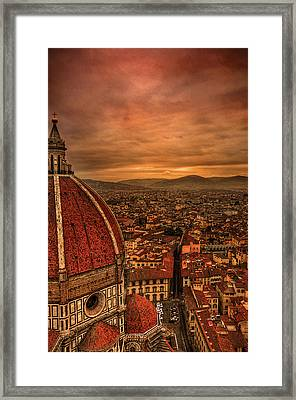 Florence Duomo At Sunset Framed Print by McDonald P. Mirabile