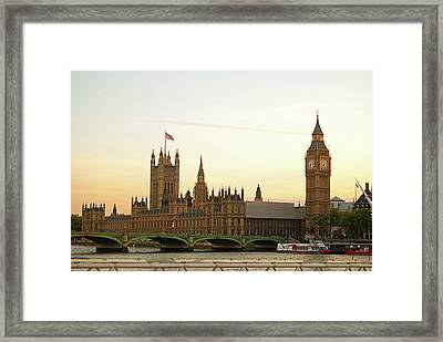 Houses Of Parliament From The South Bank Framed Print by Sharon Vos-Arnold