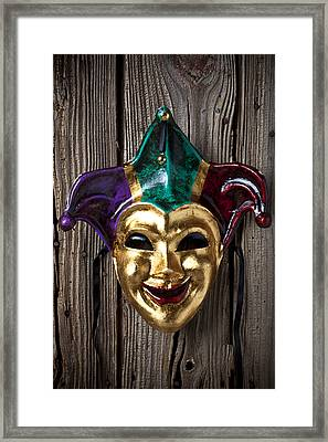 Jester Mask Hanging On Wooden Wall Framed Print by Garry Gay