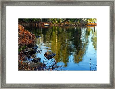 Morning Reflections On Chad Lake Framed Print by Larry Ricker