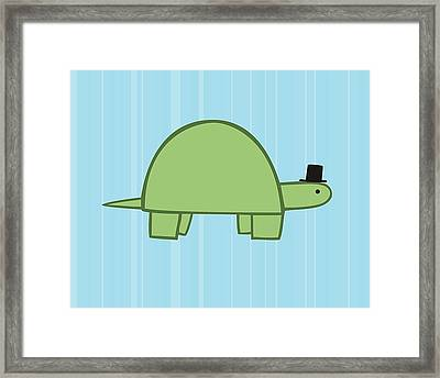 Nursery Art Boy Turtle Framed Print by Christy Beckwith