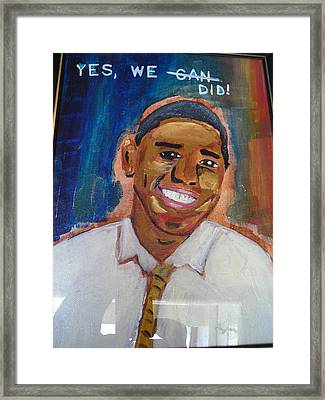 Obama Yes We Did Framed Print by R Bruce Macdonald