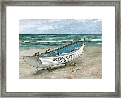 Ocean City Lifeguard Boat Framed Print by Nancy Patterson