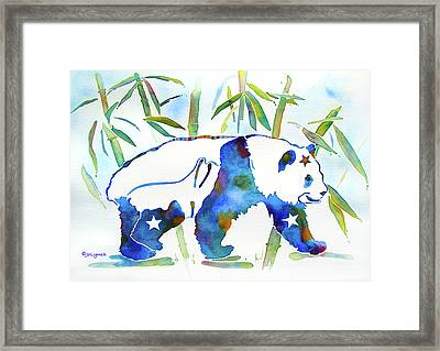 Panda Bear With Stars In Blue Framed Print by Jo Lynch