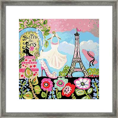 Paris Bistro Dress  Framed Print by Karen Fields