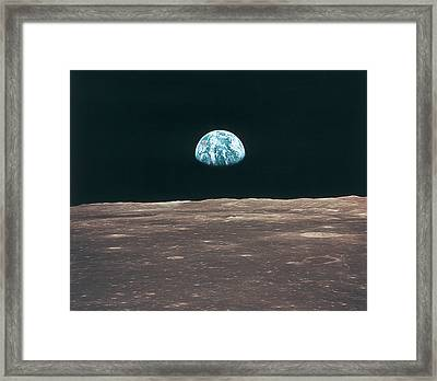Planet Earth Viewed From The Moon Framed Print by Stockbyte