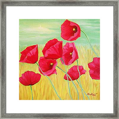 Pop Pop Poppies Framed Print by Rivkah Singh