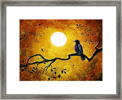 Raven In Golden Splendor Framed Print by Laura Iverson