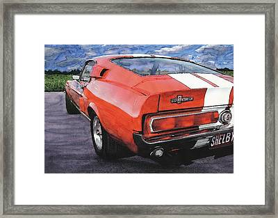 Red Mustang Shelby Gt500 Framed Print by Rod Seel