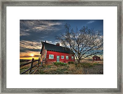 Rustic Barn Bathed In Colors Framed Print by Shane Linke
