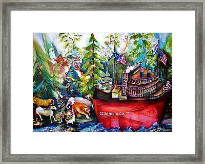 S S Santa Ship Framed Print by Claire Sallenger Martin