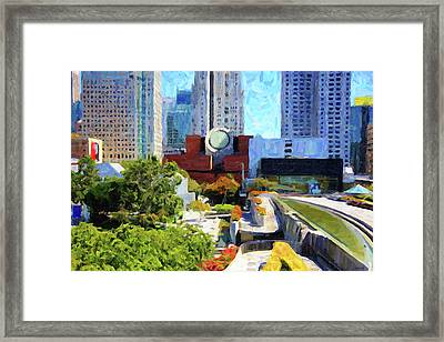 San Francisco Museum Of Modern Art Viewed Through Yerba Buena Gardens Framed Print by Wingsdomain Art and Photography