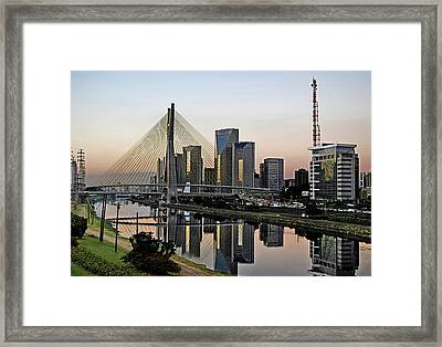 Stayed Bridge And Modern Sao Paulo Skyline Framed Print by Carlos Alkmin