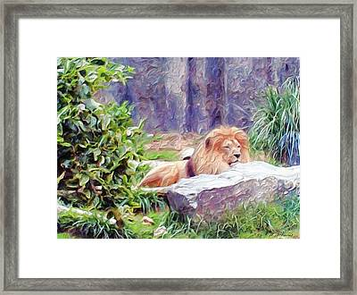 The King At Rest Framed Print by Methune Hively