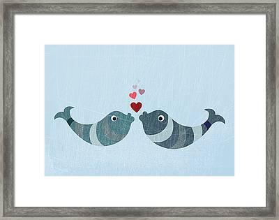 Two Fish Kissing Framed Print by Jutta Kuss