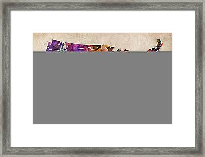 Usa Watercolor Map Framed Print by Michael Tompsett