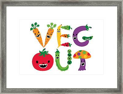 Veg Out - White Framed Print by Andi Bird